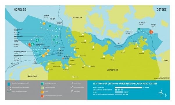 Übersicht Offshore Windparks Stand Januar 2016