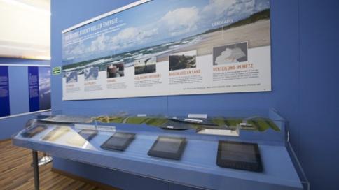 An diesem Modell wird anschaulich gezeigt, wie die Kabeltrasse im sensiblen Bereich des Wattenmeeres gebaut wird.